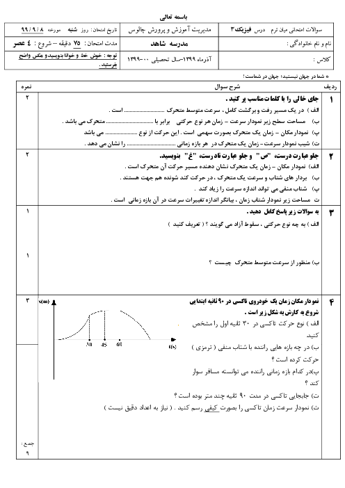 ارزشیابی فیزیک (3) دوازدهم دبیرستان شهید بخشی | فصل 1: حرکت بر خط راست