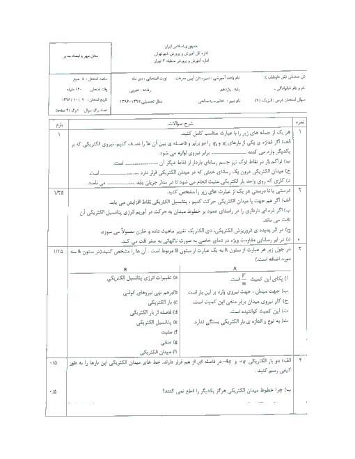 سوالات امتحان نوبت اول فیزیک (2) پایه یازدهم دبیرستان آیین معرفت | دی 1396