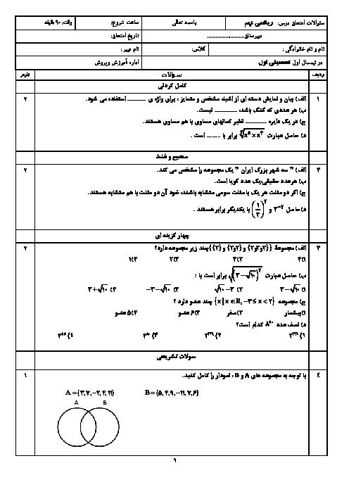 امتحان نوبت اول ریاضی نهم مدرسه جباریان مشهد | دی 96