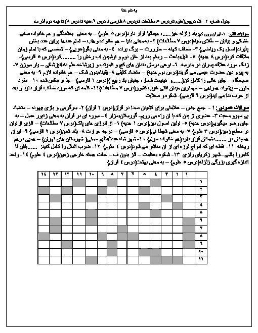 جدول شماره 2: کل دروس ششم ابتدائی (تا نیمه دوم آذر ماه)