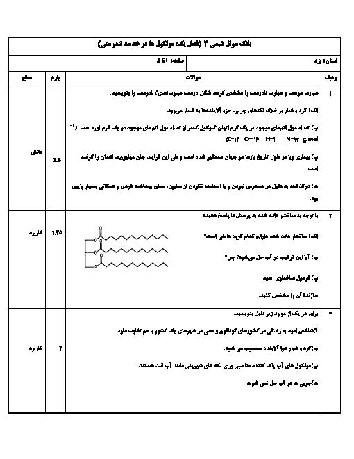 مجموعه سوالات طبقه بندی شده شیمی (3) دوازدهم | فصل 1 تا 4 + پاسخ