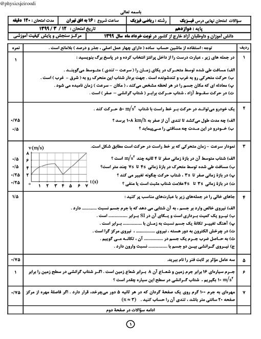 آزمون نوبت دوم فیزیک (3) دوازدهم ریاضی هماهنگ مدارس ایرانی خارج از کشور | نوبت عصر خرداد 1399