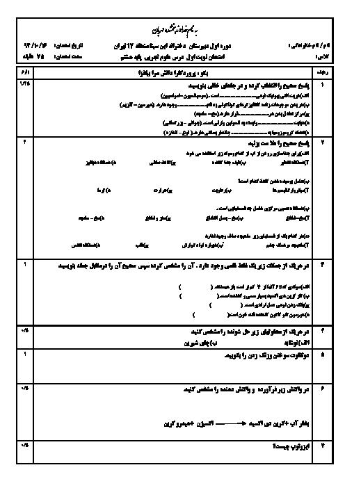 آزمون نوبت اول علوم تجربی هشتم دبیرستان دخترانه ابن سینا منطقه 12 تهران - دی 94