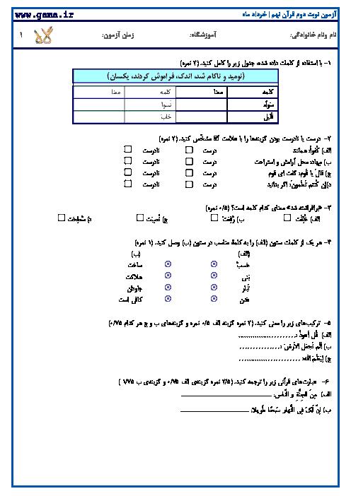 نمونه سوالات امتحانی نوبت دوم قرآن نهم | خرداد ماه سری1
