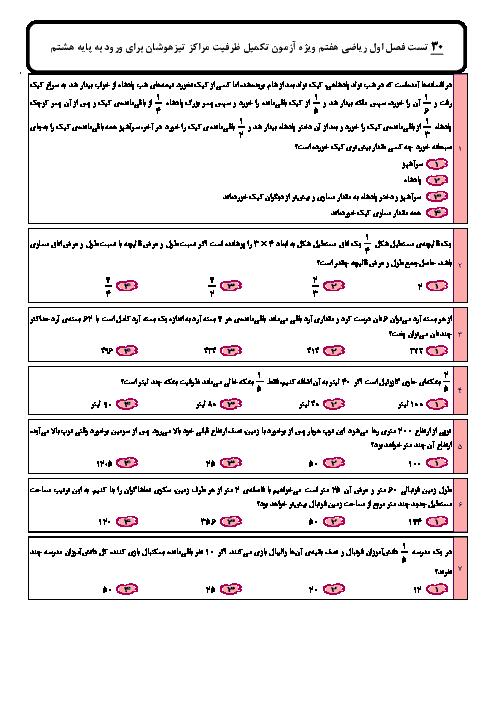 سوالات تستی فصل 1 ریاضی هفتم تیزهوشان | راهبر دهای حل مسئله + پاسخ تشریحی