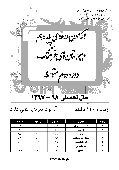 سؤالات آزمون ورودی پایه دهم مدارس فرهنگ استان اصفهان   سال تحصیلی 98-97 + پاسخ