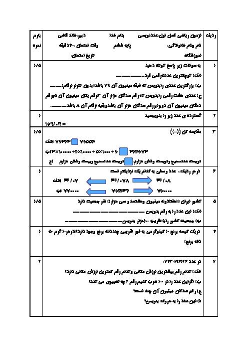 آزمونک ریاضی ششم دبستان ایران زمین | فصل 1 (درس دوم: عدد نویسی)