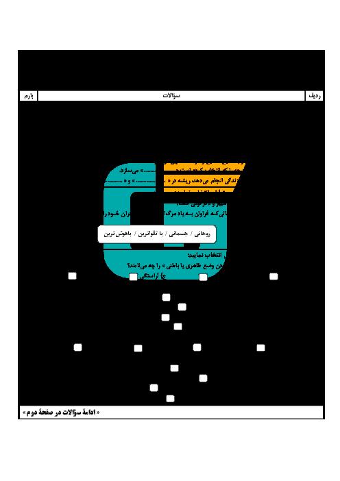 آزمون نوبت دوم دین و زندگی (1) پایه دهم دبیرستان طالقانی | خرداد 96