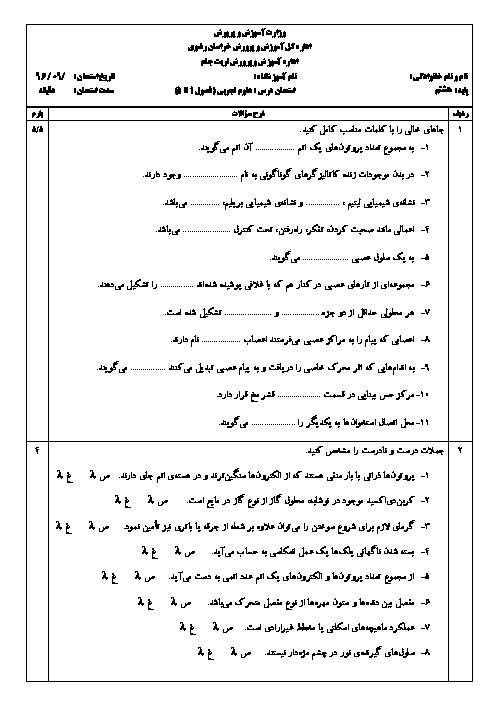 امتحان مستمر علوم تجربی هشتم دبیرستان شهید نصراللهی تربت جام   آذر 96: فصل 1 تا 5