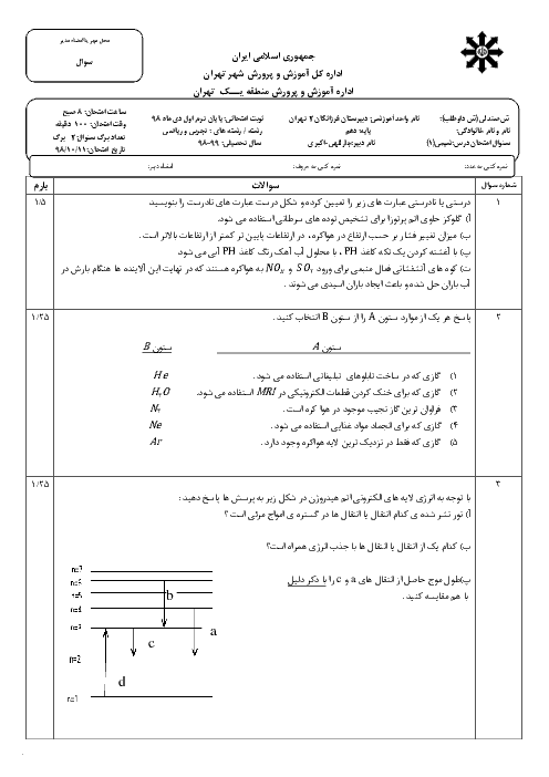 امتحان ترم اول شیمی دهم دبیرستان فرزانگان 2 تهران | دی 98