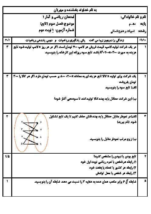 امتحان فصل 3 ریاضی و آمار دهم دبیرستان شمس تبربزی | تابع