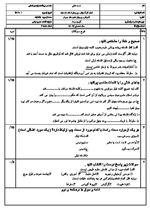 سوالات امتحان نوبت اول فلسفه یازدهم رشته انسانی دبیرستان حضرت رقیه جویبار | دی 96