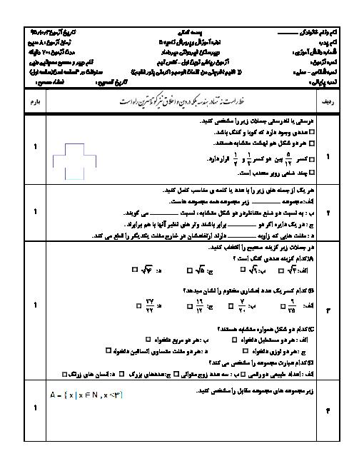 آزمون نوبت اول ریاضی نهم دبیرستان غیردولتی میرداماد اصفهان | دی 95