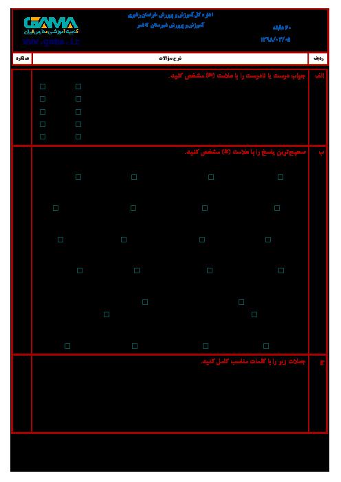 آزمون نوبت دوم علوم تجربی ششم هماهنگ ناحیه کاشمر | خرداد 1398