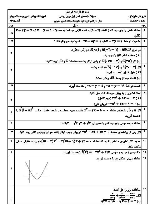 امتحان فصل 1 ریاضی یازدهم آموزشگاه تمیزدوست لاهیجان | هندسۀ تحلیلی و جبر (درس 1و2و3)