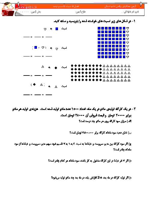 آزمون عملکردی ریاضی ششم | فصل 6: نسبت، تناسب و درصد