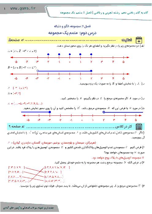 راهنمای گام به گام  ریاضی (1) دهم رشته رياضی و تجربی | فصل 1 |  درس دوم: متمم يک مجموعه