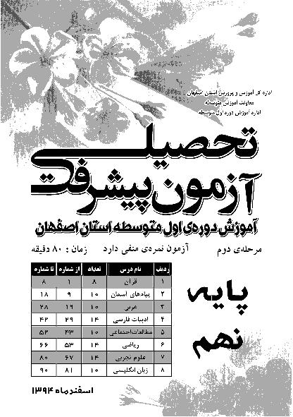 آزمون پیشرفت تحصیلی دانش آموزان پایه نهم استان اصفهان |مرحله دوم: اسفند 94