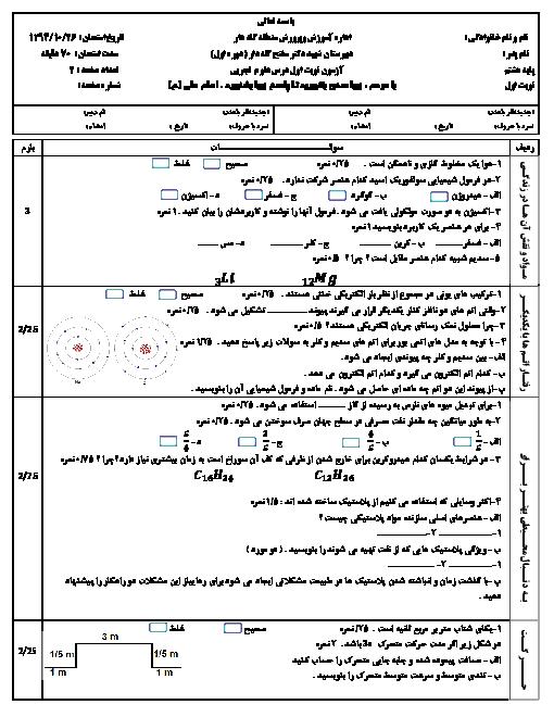 آزمون نوبت اول علوم تجربی نهم دبیرستان شهید دکتر مفتح گله دار | دی 94