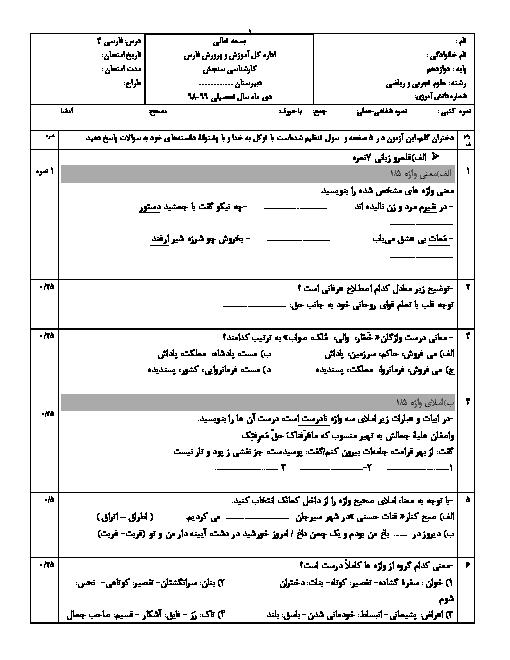 سوالات امتحان فارسی 3 دوازدهم انسانی، تجربی و ریاضی دبیرستان پیام دانش   دی ماه 98