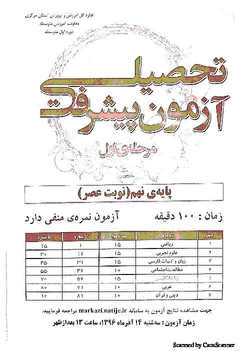 سوالات آزمون پیشرفت تحصیلی دانش آموزان پایه نهم استان مرکزی | مرحله اول آذر 96 (نوبت عصر)