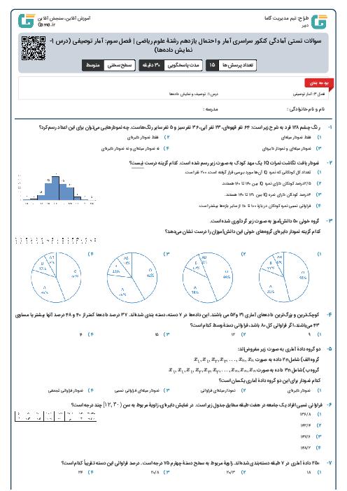 سوالات تستی آمادگی کنکور سراسری آمار و احتمال یازدهم رشتۀ علوم ریاضی | فصل سوم: آمار توصیفی (درس 1- توصیف و نمایش دادهها)
