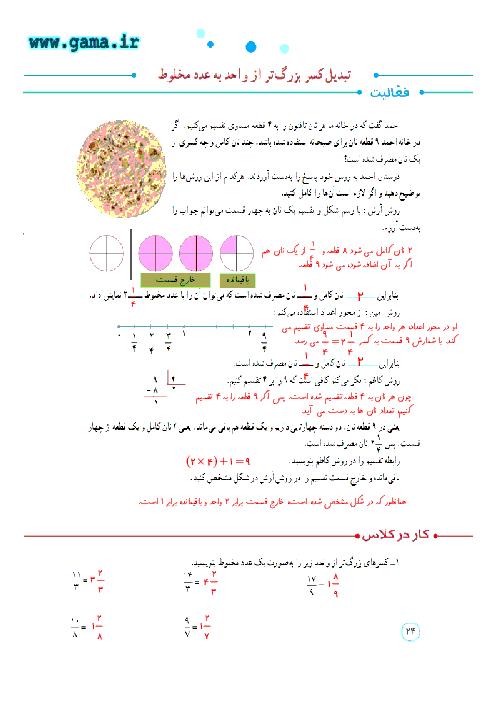 پاسخ فعالیت، کار در کلاس و تمرین ریاضی پنجم دبستان | فصل 2:  تبدیل کسر بزرگ تر از واحد به عدد مخلوط