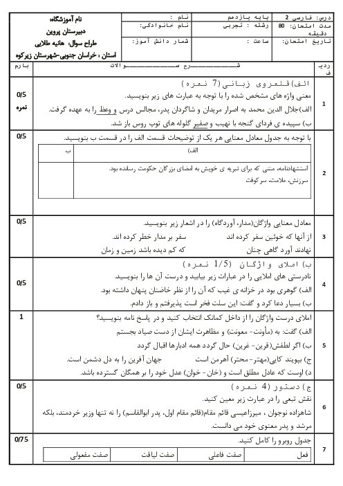 آزمون نوبت دوم فارسی (2) یازدهم دبیرستان پروین اعتصامی   خرداد 1398