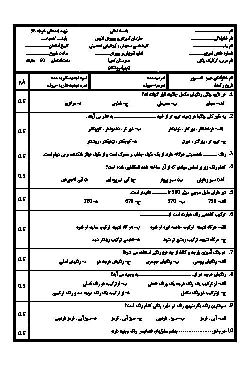 آزمون نوبت دوم طراحی گرافیک رنگی یازدهم هنرستان کار دانش اهورا | خرداد 1398