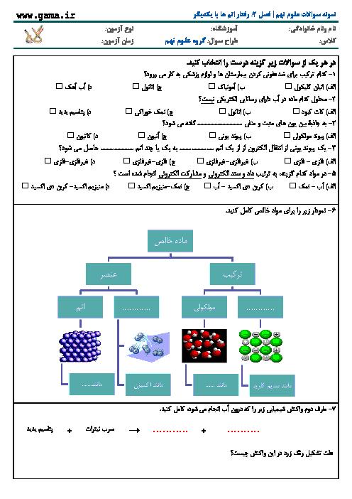 نمونه سوال علوم تجربی پایه نهم با پاسخ تشریحی | فصل 2: رفتار اتم ها با یکدیگر