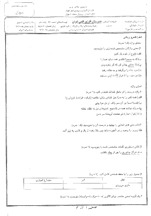 آزمون نوبت اول فارسی (1) دهم دبیرستان انرژی اتمی | دیماه 1397