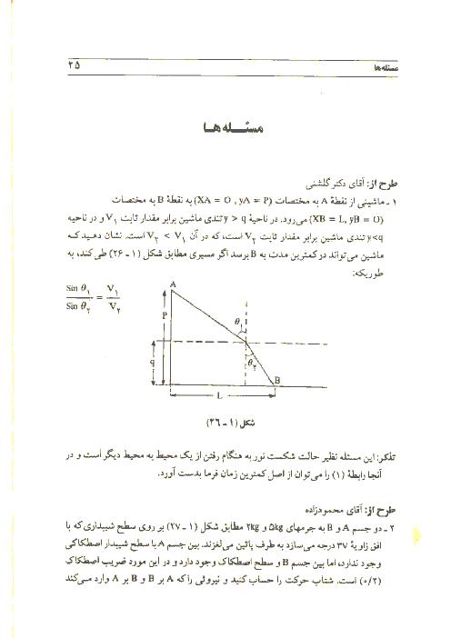 آزمون مرحله دوم نخستین دورهی المپیاد فیزیک کشور با پاسخ تشریحی | سال 1367