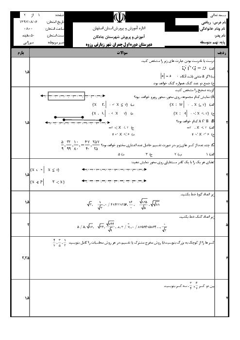 آزمون ریاضی نهم مدرسه شهید چمران | فصل 2: عددهای حقیقی