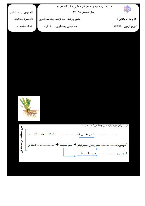 امتحان کلاسی فصل 8 زیست شناسی یازدهم دبیرستان معراج | تولید مثل نهان دانگان