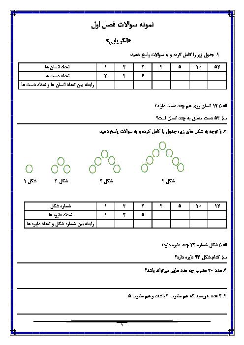 مجموعه کاربرگ های درس به درس ریاضی ششم دبستان نصرت مظاهری   فصل 1 تا 7