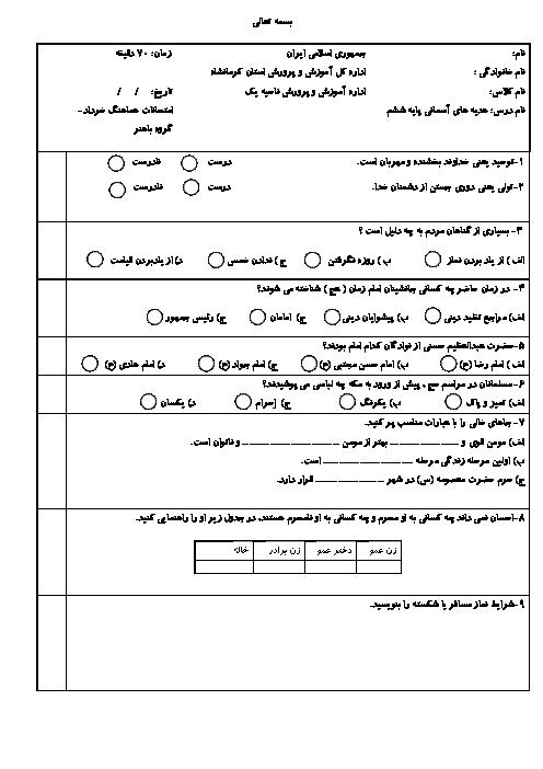 آزمون نوبت دوم هدیه های آسمانی ششم هماهنگ ناحیه 1 کرمانشاه | خرداد 1398 + پاسخ