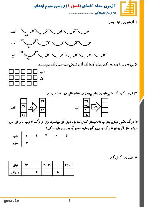 آزمون مدادکاغذی ریاضی کلاس سوم دبستان | فصل اول: الگوها