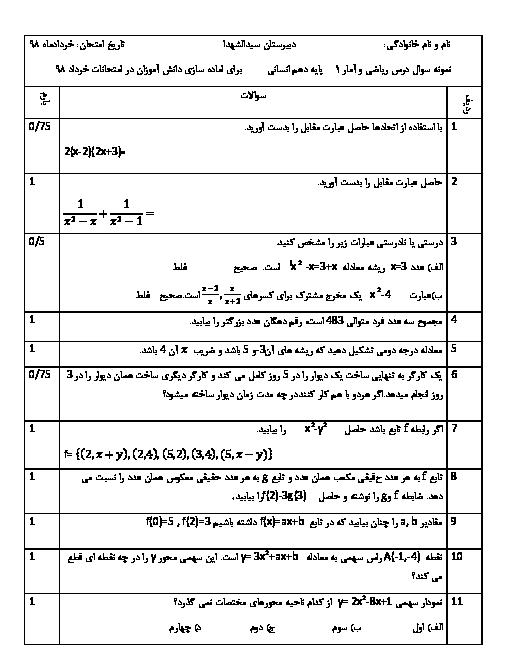 آزمون آماده سازی نوبت دوم ریاضی و آمار دهم دبیرستان سید الشهداء + پاسخ