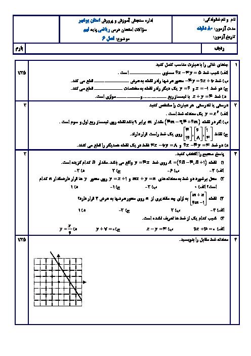 امتحان پایانی فصل 6 ریاضی نهم دبیرستان خاتم الانبیاء عسلویه | خط و معادلههای خطی