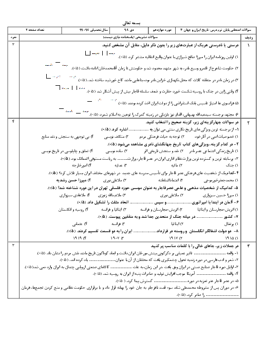 آزمون نوبت اول تاریخ دوازدهم دبیرستان یاران فاطمه تهران   دیماه 97