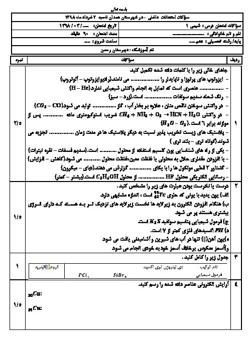 سوالات امتحان ترم دوم شیمی دهم دبیرستان رحمن همدان   خرداد 1398