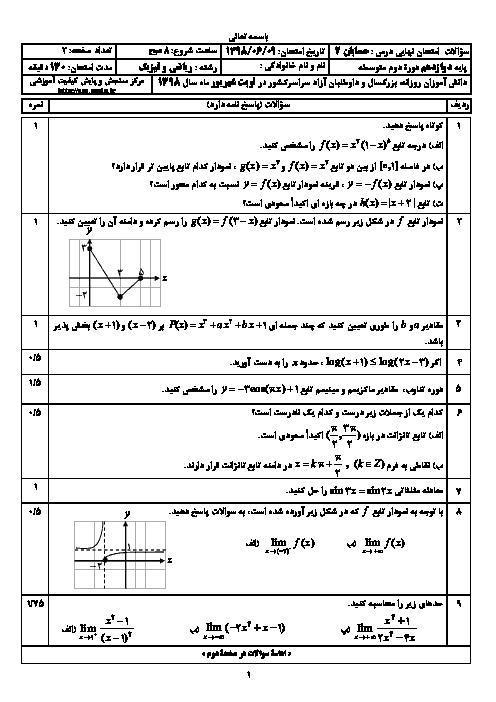 سؤالات امتحان نهایی درس حسابان (2) دوازدهم رشته ریاضی | شهریور 1398