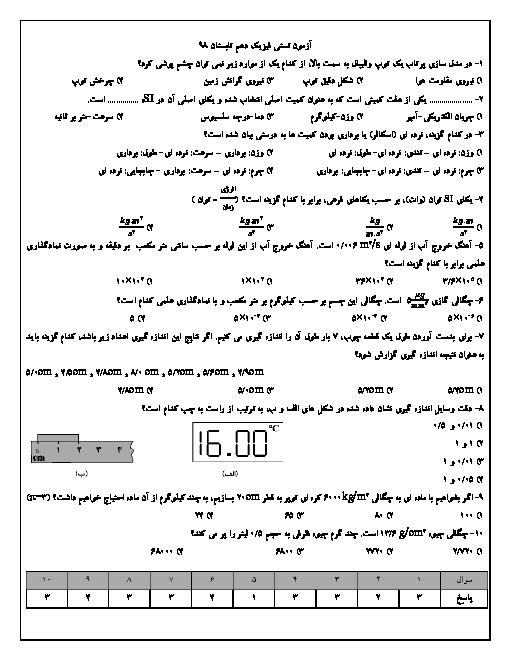 آزمون تستی فیزیک دهم دبیرستان سلام مبین | فصل 1: فیزیک و اندازه گیری + کلید