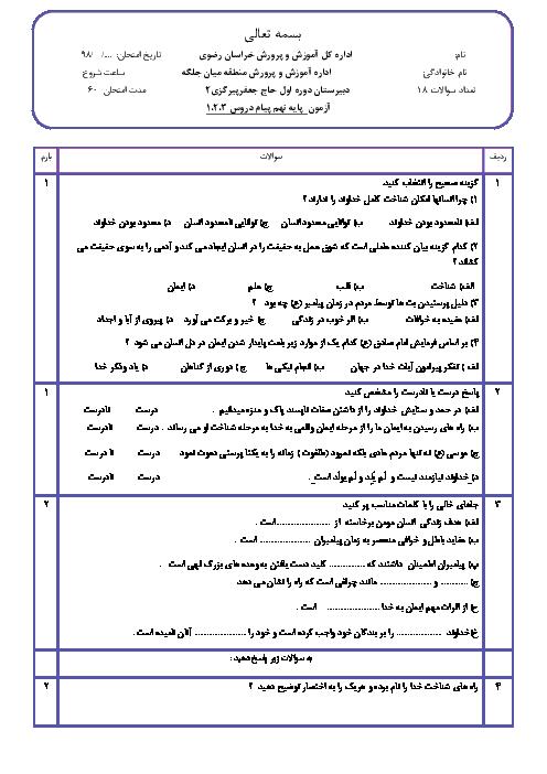 سوالات امتحان پیامهای آسمان نهم مدرسه شهید بلوکی فدیشه   درس 1 تا 3