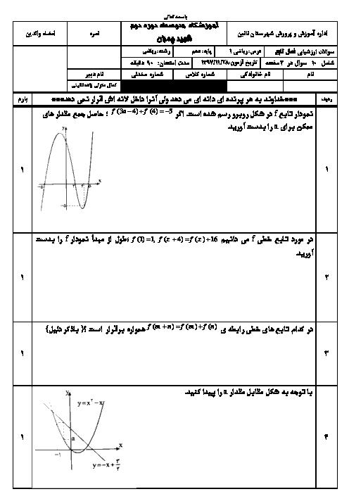 نمونه سوال امتحان فصل 5 ریاضی دهم دبیرستان شهید چمران نایین | تابع