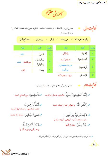 گام به گام آموزش قرآن نهم | پاسخ فعالیت ها و انس با قرآن درس 4: جلسه دوم (سوره حُجُرات)