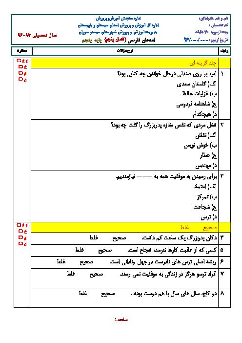 ارزشیابی ماهانهی بهمن فارسی پنجم دبستان سید قطب گزن | فصل پنجم: راه زندگی