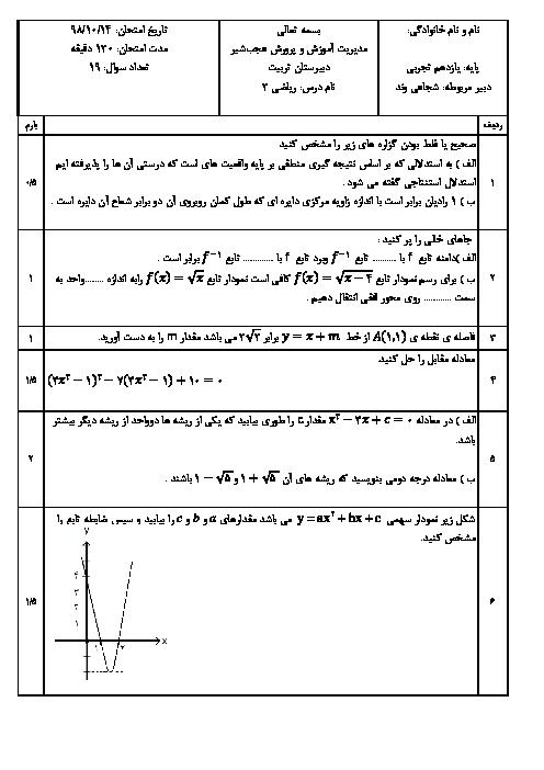 آزمون نوبت اول ریاضی (2) یازدهم دبیرستان تربیت   دی 1398