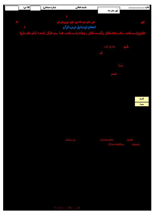 امتحان نوبت اول آموزش قرآن نهم  مدرسۀ سهروردی  ناحیه 2 زنجان | دی 96: درس 1 تا 6