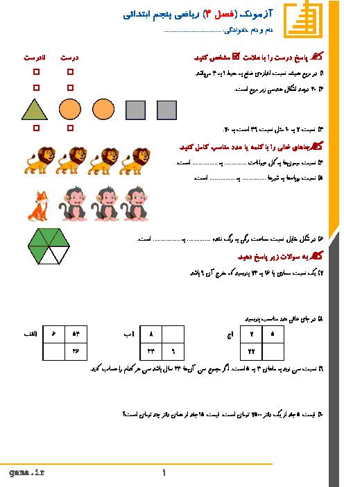آزمونک ریاضی پنجم دبستان شهید چمران | فصل 3: نسبت، تناسب و درصد